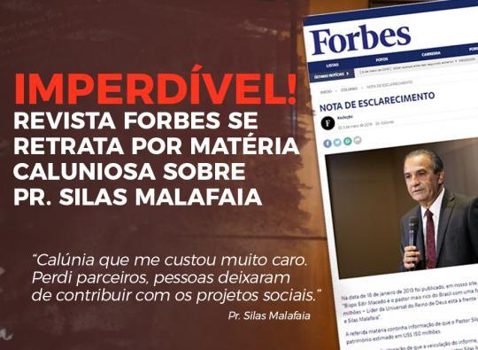Revista Forbes se retrata com Pr. Silas Malafaia